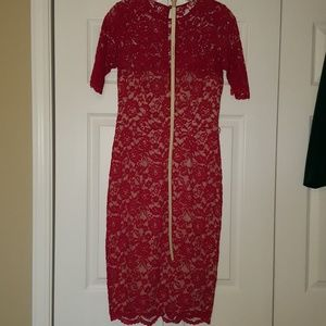 Maggy London red lace cocktail dress, size 8
